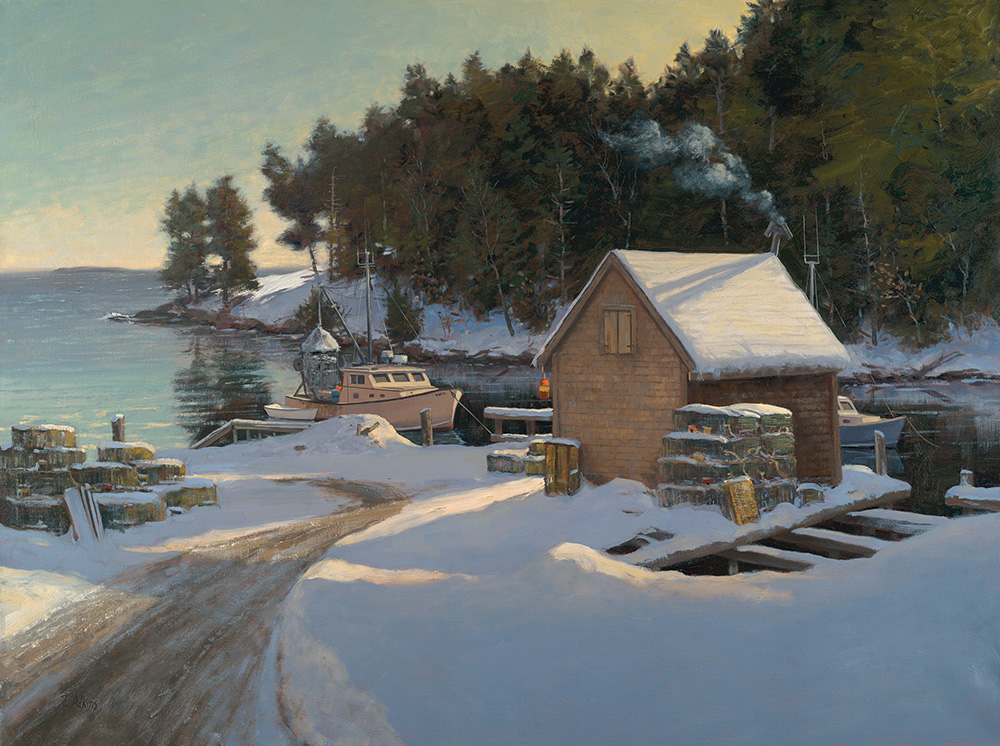 Below Zero, Back Cove New Harbor 30 x40, $7,800