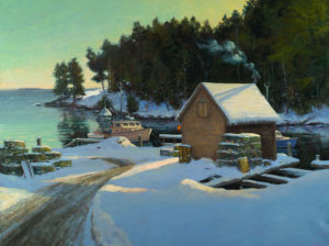 Below Zero, Back Cove New Harbor Oil on Linen, 30x40