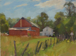 Barn House, Morning Light, 12x16