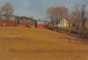 Three Red Barns, 11x16