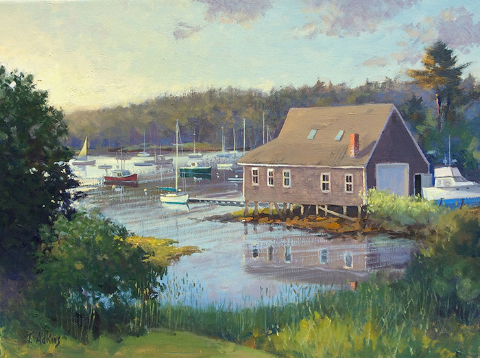 Summer Morning Boat House 12 x 16 $1,800