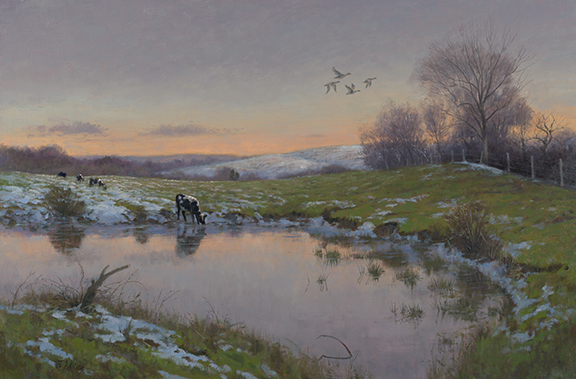 Twilight Bethlehem Cow Pond 20 x30 $4,500
