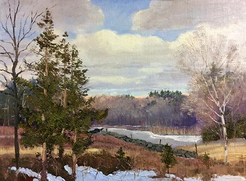 Cedar Winter Fields 9 x 12 study