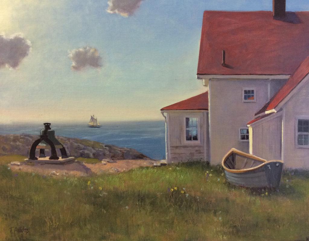 Monhegan Lighthouse Rising 11 x 14