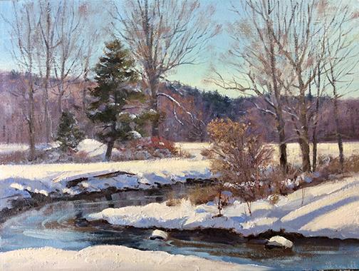 Pomperaug River Winter, Woodbury 12 x16
