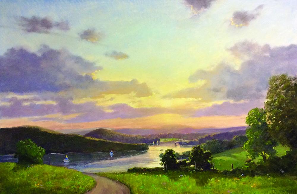 Thomas Adkins, Sunset Sail Lake Waramaug 24x36