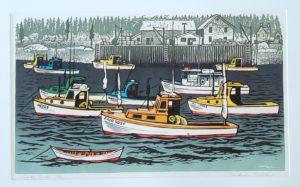 Lobster Boat 14x24 linocut