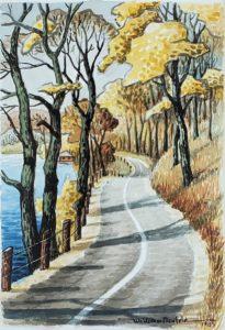 East Shore Road (1985, 19 x 13) watercolor)
