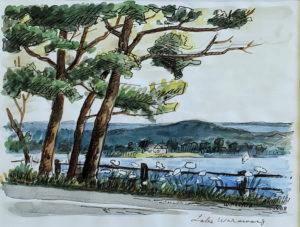 Lake Waramaug (1988, 7 x 9.5)