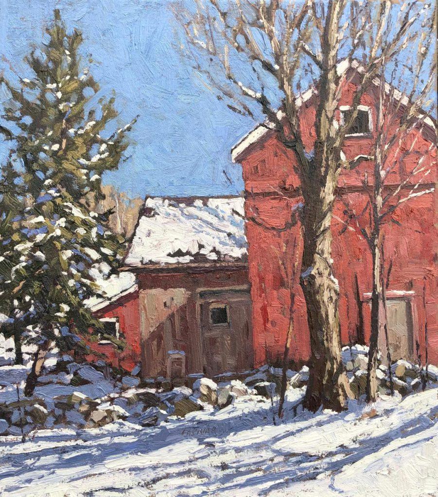 Nonnewaug Barns 14x16 oil $1400