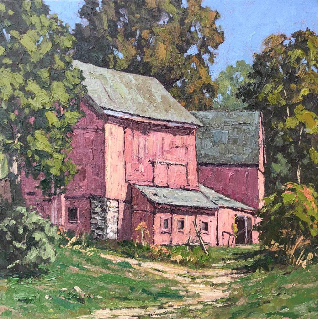 Holcomb Hill Barns 18x18 oil $1700