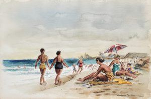 On the Beach at Watch Hill 12x18 1957 watercolor
