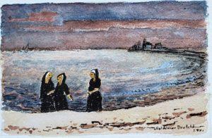 Three Nuns on the Beach 6x9 1981 watercolor