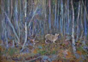 Snow Shoe Hare in the Birches 8.75x11.75 oil