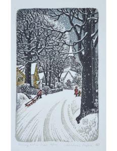 Gunnery Hill Snow linocut