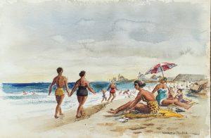 Woldemar Neufeld watercolor Watch Hill Rhode Island