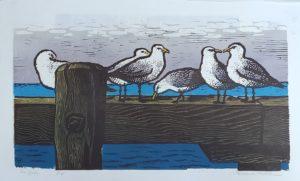 Seagulls 15x27 linocut