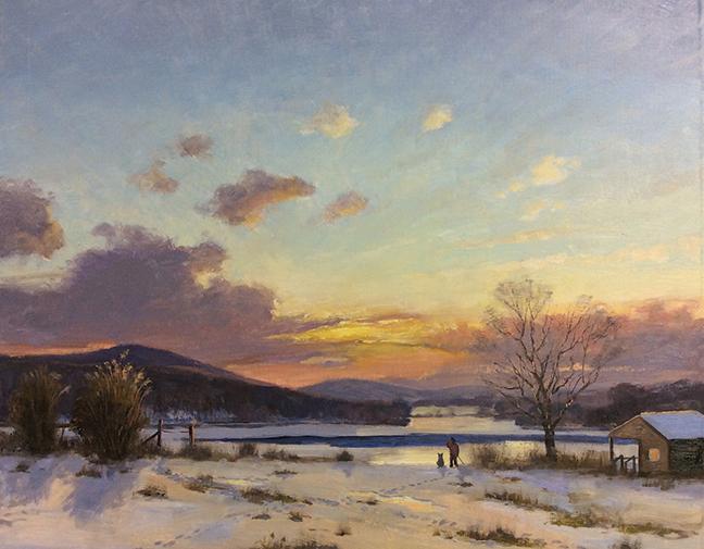 Looking West Over Lake Waramaug, 16x20, Thomas Adkins