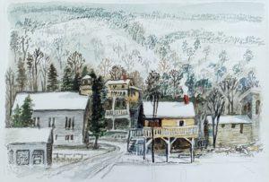 New Preston Winter (1983, 13 x 18 watercolor) unsigned