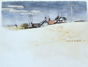 East Beach Watch Hill 16x29 ca. 1969 watercolor