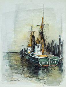 Fushing Boats, Betty Ann 15.5x12 watercolor
