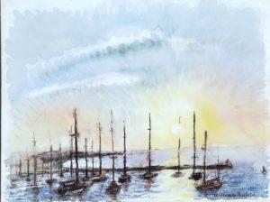 Masts at Sunset 12x16 ca. 1060 watercolor