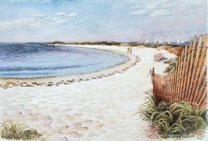 Npatree Beach 14x20 1982 watercolor