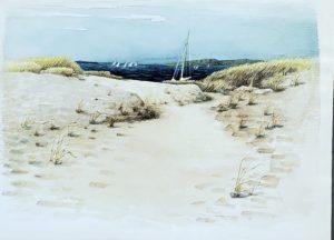 Path on Napatree Beach 21x30 1961 watercolor