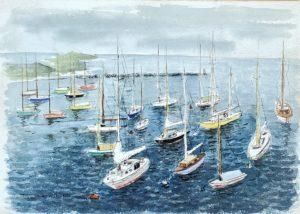 Sailboats at Watch Hill Harbor 10x14 1961 watercolor