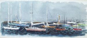 Watch HIll Harbor Mooring 9x12 watercolor